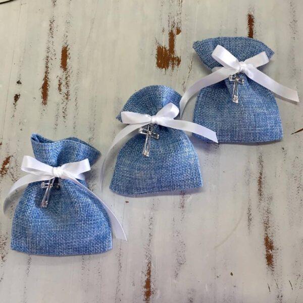 Blue linen bag bomboniere